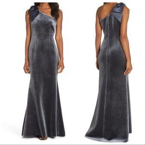 Eliza J Bow One Shoulder Velvet Gown Steel
